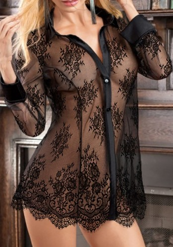 Black Lace See Through Long Sleeve Button Up Blouse Nightgown