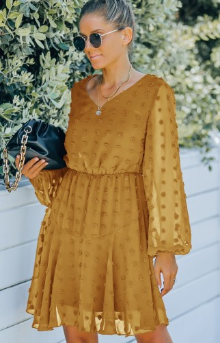 Yellow Floral V--Neck Mesh Sleeve Midi Dress