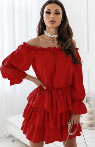 Red Off Shoulder Puff Sleeve Pleated Midi Dress