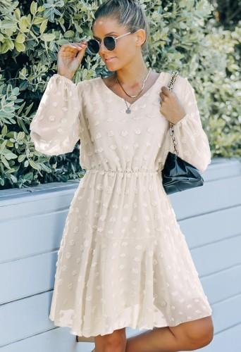 White Floral V--Neck Mesh Sleeve Midi Dress