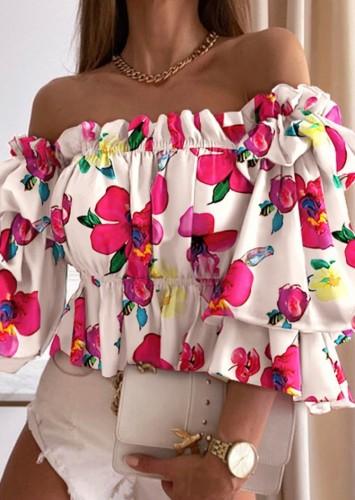 Floral Pink Off Shoulder Bubble Sleeve Crop Top