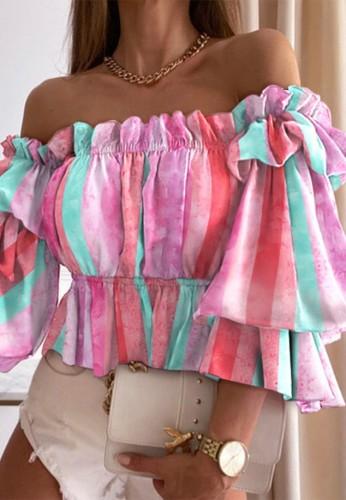 Tie Dye Pink Off Shoulder Bubble Sleeve Crop Top