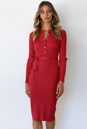 Red Long Sleeve Button Up Knitted Midi Office Dress with Matching Belt