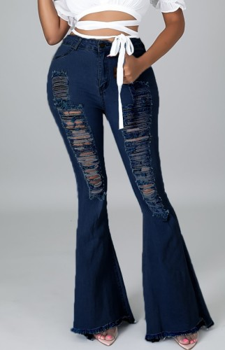Casual Dark Blue High Waist Ripped Flare Jeans