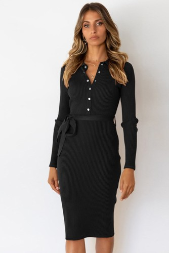 Black Long Sleeve Button Up Knitted Midi Office Dress with Matching Belt