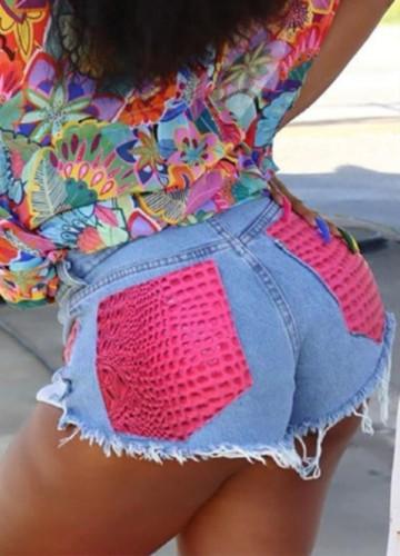 Pink Snake Skin Patch Blue Denim Shorts