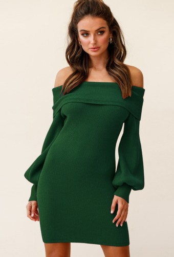 Green Off Shoulder Bubble Sleeve Knitted Slinky Dress