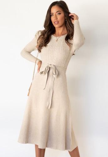 Beige Knit Long Sleeves O-Neck Dress with Belt