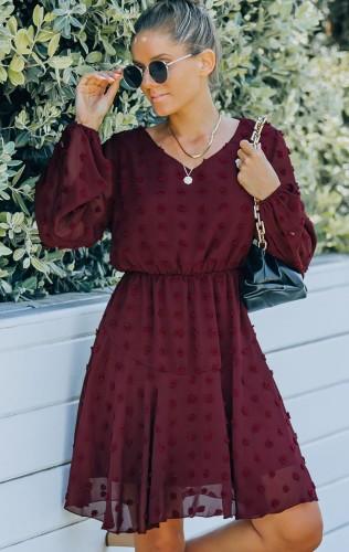 Burgunry Floral V--Neck Mesh Sleeve Midi Dress