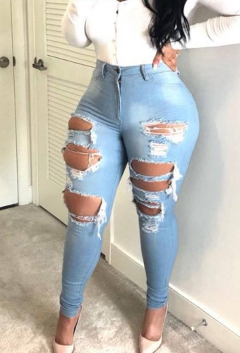 Light Blue Denim High Waist Ripped Distressed Fitted Jeans