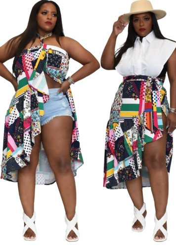 Plus Size Two Way Printed Irregualr Skirt