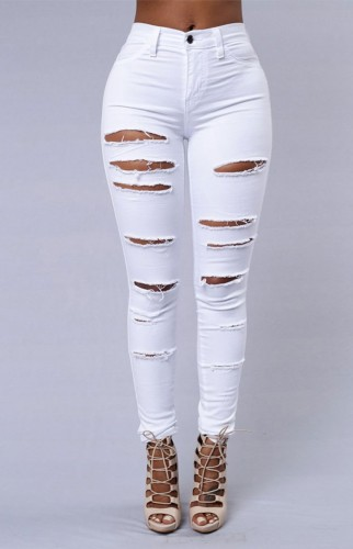 White Distressed Fitted Jeans