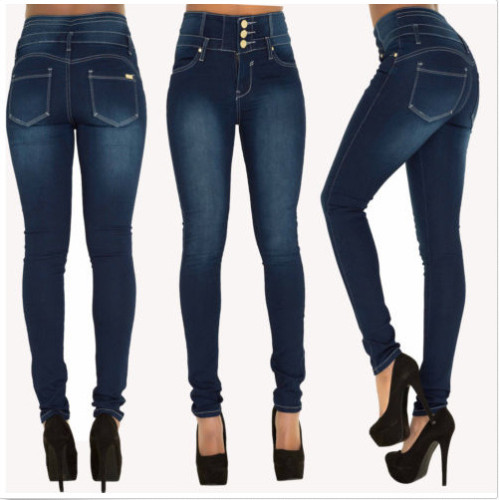 High Waisted Navy Blue Tight Jeans