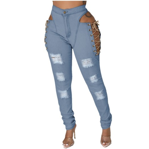 Lace Up Hollow Out  Ripped Light Blue Jeans