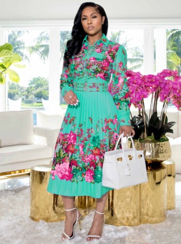 Floral Cyan Long Sleeve Button Up Pleated Dress
