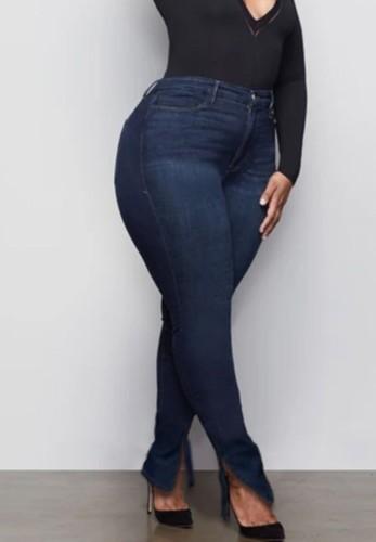 Plus Size Dark Blue High Waist Slit Bodycon Jeans