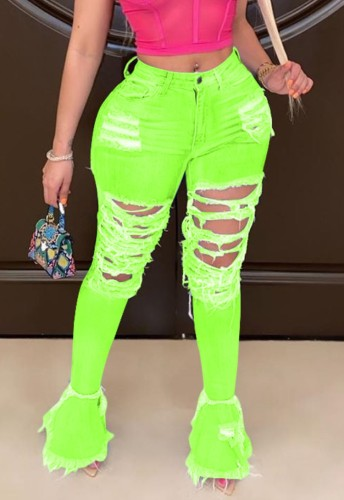 Neon Green Ripped Distressed Flare Jeans