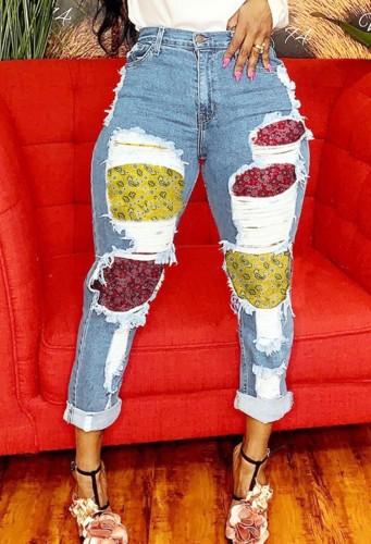 Light Blue Denim Enthic Patch Distressed High Waist Bodycon Jeans