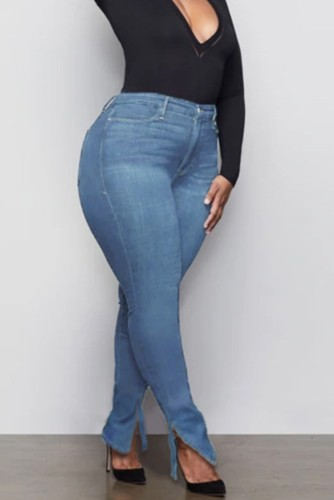 Plus Size Blue High Waist Slit Bodycon Jeans