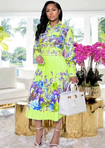 Floral Green Long Sleeve Button Up Pleated Dress