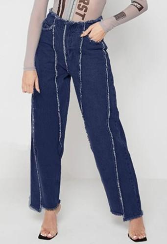 Dark Blue Patchwork High Wasit Jeans with Pocket