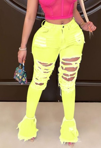 Yellow Ripped Distressed Flare Jeans