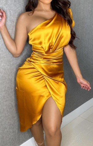 Gold Satin One Shoulder Irregular Dress