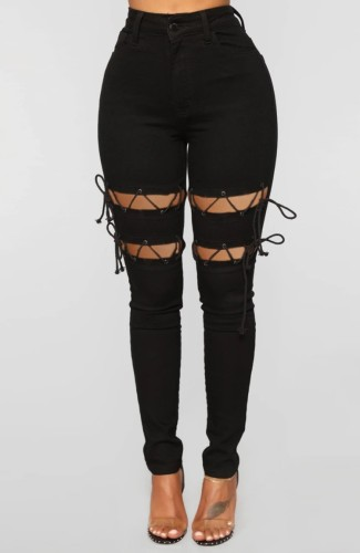 Black Denim Hollow Out Lace-Up High Waist Bodycon Jeans