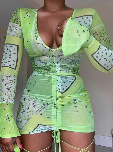 Green Print V-Neck Flare Sleeve Ruched Mini Dress