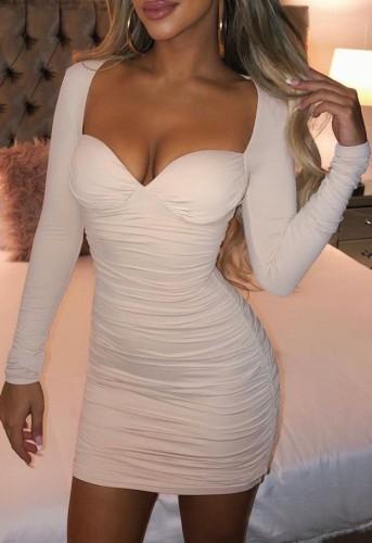 White Ruched Long Sleeve Mini Skinny Dress
