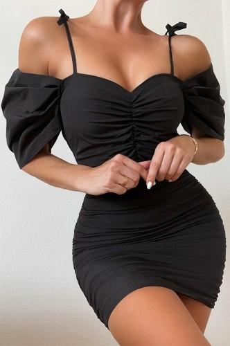 Black Bubble Sleeve Ruched Cami Mini Dress