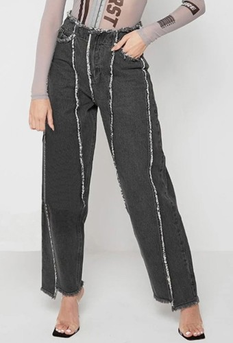 Black Patchwork High Wasit Jeans with Pocket