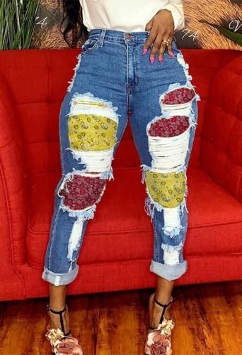 Dark Blue Denim Enthic Patch Distressed High Waist Bodycon Jeans