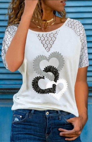 Lace Splicing Hollow Out Heart Print White Top