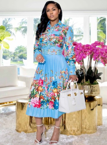 Floral Blue Long Sleeve Button Up Pleated Dress
