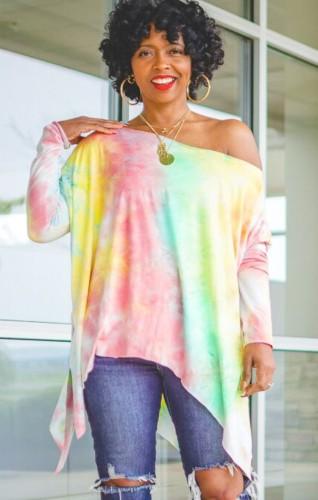 Tie Dye Print Drop Shoulder Long Sleeves Irregular Loose Shirt
