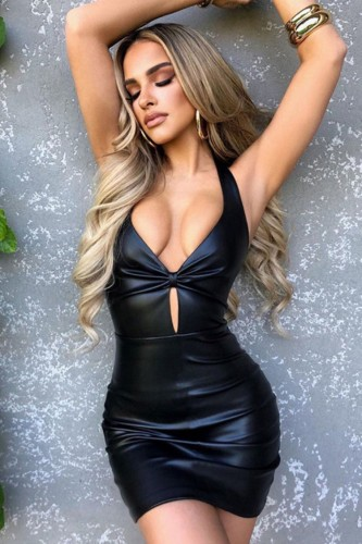 Black Hollow Out Halter Tight Mini Leather Dress