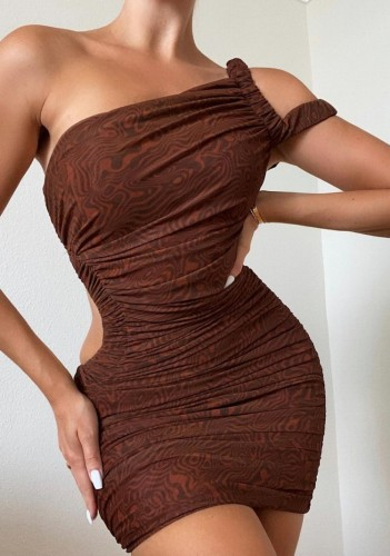 Print Brown Cut Out One Shoulder Ruched Slinky Mini Dress