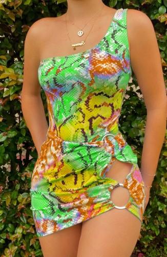 Colorful Snake Skin Print O-Ring One Shoulder Keyhole Mini Dress