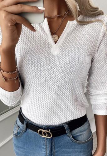 Waffle White V-Neck Long Sleeve Basic Top