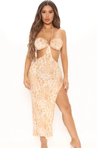Print Leopard Cut Out Hight Slit Halter Long Dress