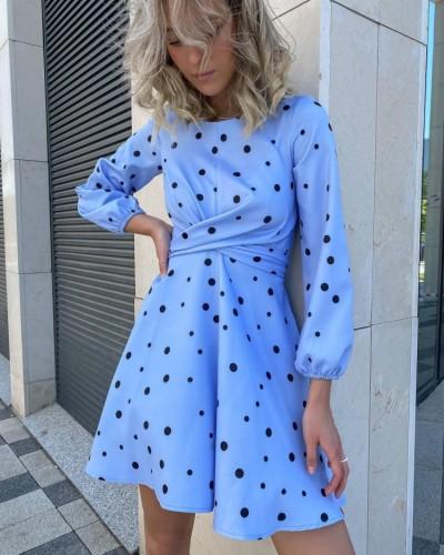 Polka Dot Blue Ruched Long Sleeves O-Neck Midi Dress