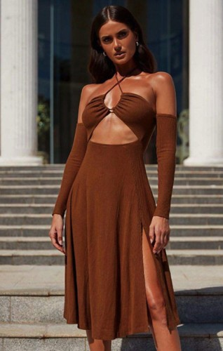 Cut Out Slit Halter Long Sleeves Midi Dress