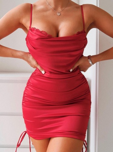 Red Silk Lace Patch Ruched Strings Cami Mini Dress