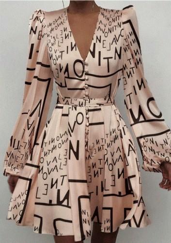 Print Satin V-Neck Puff Sleeves Skater Dress
