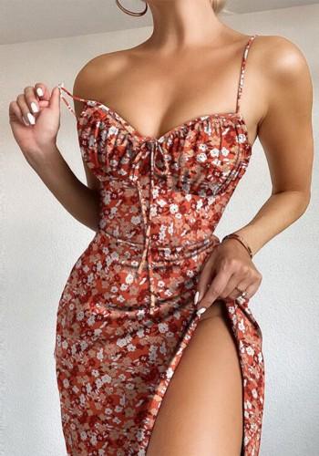 Print Floral Slit Cami Dress