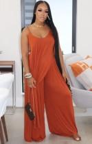 Orange Irregular Long Cami Top and Wide Pants Two Piece Set