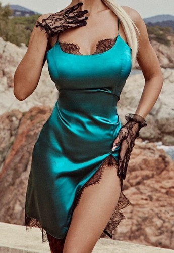 Green Lace Patch Silk Slit Cami Nightdress