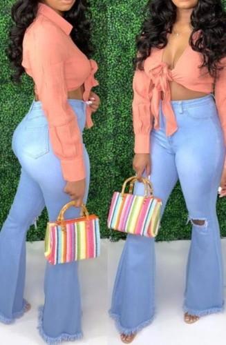 Light Blue High Waist Hole Skinny Flare Jeans