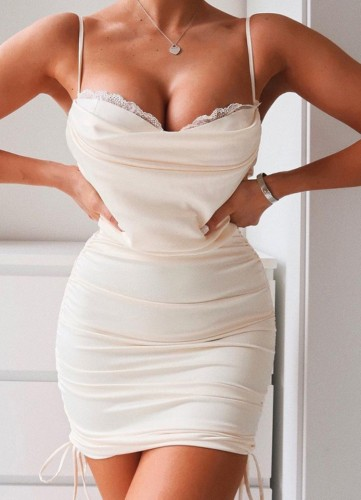 Beige Silk Lace Patch Ruched Strings Cami Mini Dress